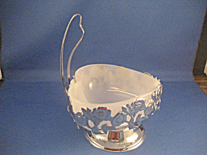 Silver Rose Milk Glass Handled Candy Dish