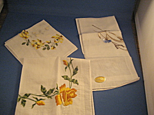 Three Flower Handkerchiefs