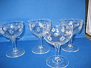 Four Etched Cordial Glasses