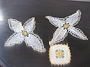 Yellow Crocheted Doilies And Hot Pad