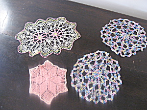 Four Colorful Doilies