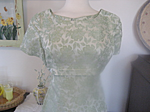 1950 Slim Ladies Brocade Party Dress