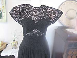 1940 Black Lace And Taffeta Formal
