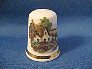 Thimble English Thatched Cottage Bone China (Image1)