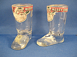 Glass Santa Boot Candy Container