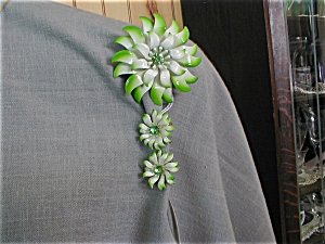 Painted Tin Flower Brooch and Earrings (Image1)
