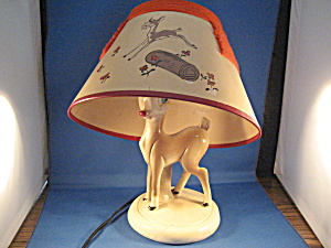 Chalkware Rudolph Lamp And Original Shade