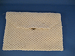 White Beaded Purse From Czechoslovakia