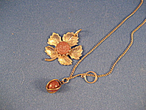 Goldtone Flower And Ball Necklace With Miniature 14kt Ring