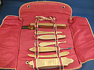 Vintage Bakelite Manicure Set With Leather Holder