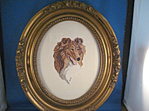 Embroidered Collie Picture In Antique Frame
