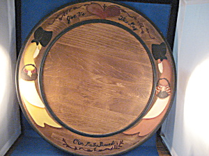 Large Folk Art Wooden Platter