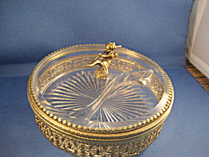 Vanity Glass Case With Cherub On Top