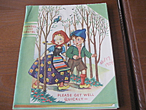 1954 Hansel And Gretel Get Well Card