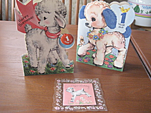 Three 1952 Baby's First Birthday Card (Image1)