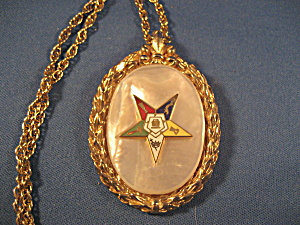 Eastern Star Mother Of Pearl Pendant And Chain