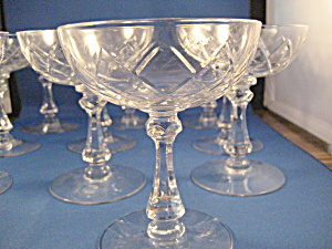 10 Etched Champagne Glasses