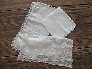 Three Lace Handkerchiefs