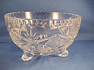 Diamond And Fan Early American Press Glass Serving Bowl