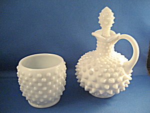 Fenton Milk Glass Hobnail Sugar And Cream