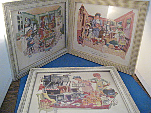 Three Vintage Joanne Nigro Prints In Vintage Frames