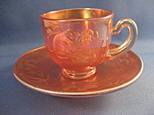 Old Kittens Fenton Carnival Glass Cup And Saucer