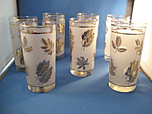 Eight Libbey Golden Foil Leaf Drinking Glasses