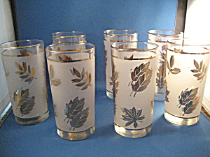 Seven Libbey Golden Foil Leaf Drinking Glasses