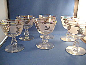 Six Golden Foil Leaf Cocktail Glasses From Libbey