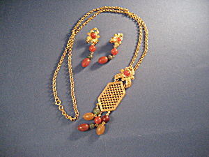 Avon Gold Necklace And Pierced Earrings
