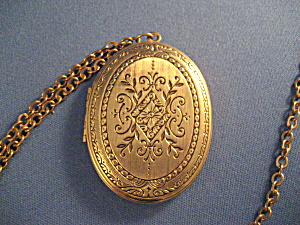 Large Locket With Gold Chain