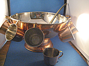 Copper Punch Bowl with Cups and Ladle (Image1)