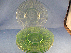5 Green Depression Glass Saucers