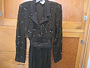1980 Black Pantsuit With Bolero Jacket