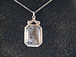 1940s Moss Agate Necklace In Silver Setting