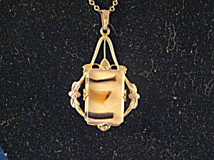 1940s Walle Stone 12kt Gold Fill Necklace