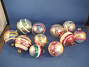 Ten Striped Glass Ball Ornaments