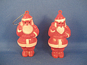 Two Very Old Plastic Santa Ornaments