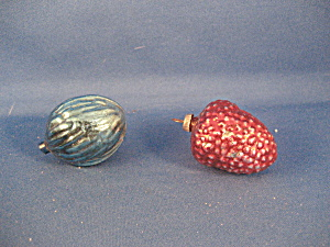 Very Old Glass Fruit And Nut Ornaments