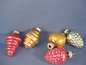 Five Very Old Glass Ornaments