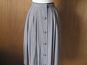 Gray Gaberdine Pleated Skirt