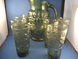 Green Glass Anchor Hocking Pitcher And Six Glasses