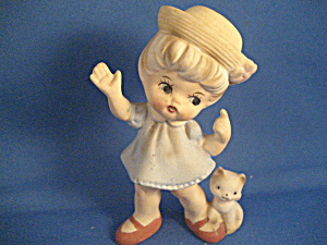 Norleans Girl With Cat Figurine