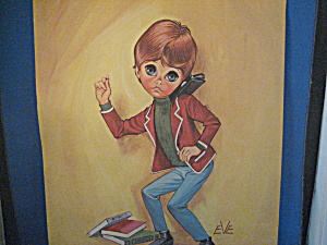 Keane Style Big Eye Print Of A Boy Dancing With His Radio