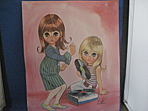 Keane Style Big Eye Print Of Girls And Record Player