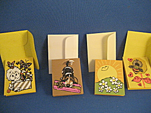 Vintage Silk Screen Miniature Greeting Cards