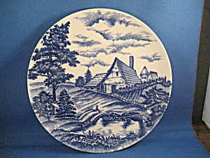 Blue Plate With Farm Scene