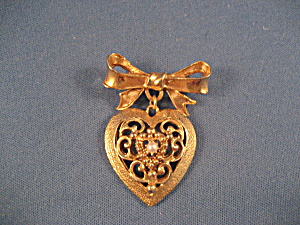 Bow And Heart Brooch