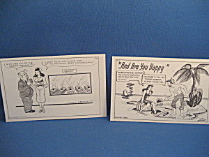 "Two Cartoon ""dude"" Larsen Postcards"
