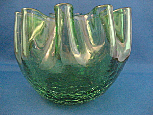 Hand Made Crackle Glass Ruffle Bowl